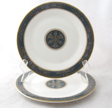 Royal Doulton Carlyle Salad Plate Teal Band Blue Flowers Gold Leaves Set... - $69.29