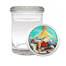 Odorless Air Tight Medical Glass Jar Classic Vintage Model Pin Up Girl D-163 - $12.95
