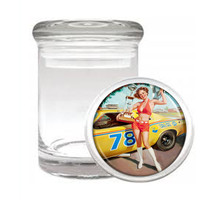 Odorless Air Tight Medical Glass Jar Classic Vintage Model Pin Up Girl D-168 - $12.95