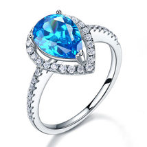 Sterling 925 Silver Bridal Engagement Ring 2 Carat Pear Cut Blue Created Diamond - $109.99