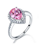 Sterling 925 Silver Wedding Engagement Ring 2 Carat Pear Pink Created Di... - $99.99