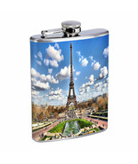 Paris Flask D2 8 oz Stainless Steel France Eiffel Tower Bright City Lights - $9.85