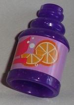 Barbie doll accessory food kitchen item jug of juice purple bottle w pap... - $6.99