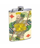 Playing Card 1850 King Diamond D459 Flask 8oz Stainless Steel - $7.88