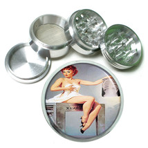 Red Head Pin Up Chest X Ray Metal Silver Aluminum Grinder D66 63mm Herb Spices - $12.82