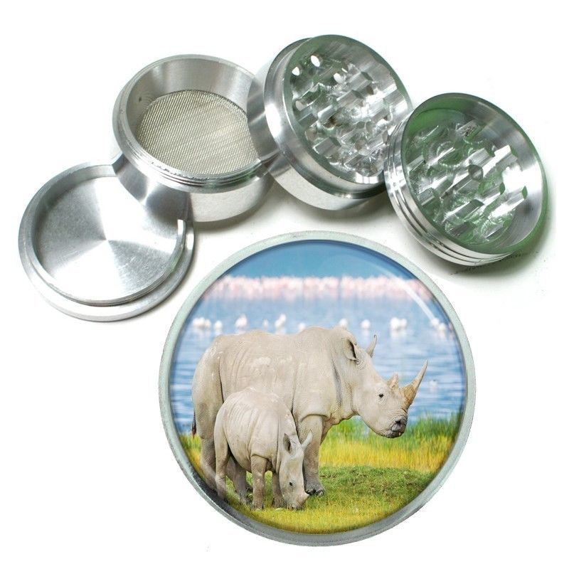 Rhino Aluminum Grinder D3 63mm 4 Piece Mother Baby Africa Two Horn Savannah