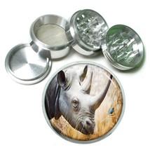 Rhino Aluminum Grinder D2 63mm 4 Piece Africa Two Horn Grassland Savannah - $7.88