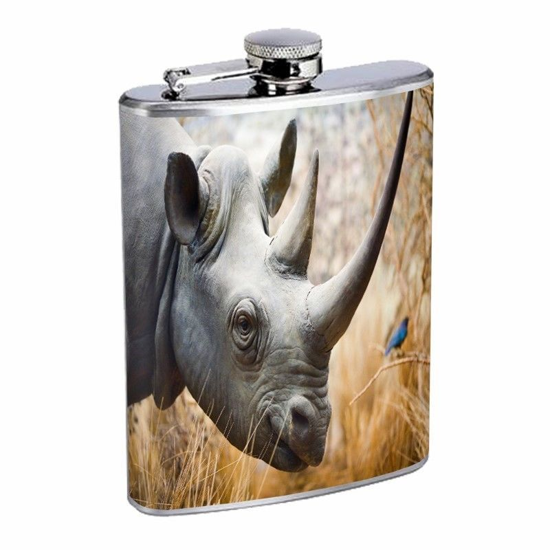 Rhino Flask D2 8oz Stainless Steel Africa Two Horn Grassland Savannah Animal