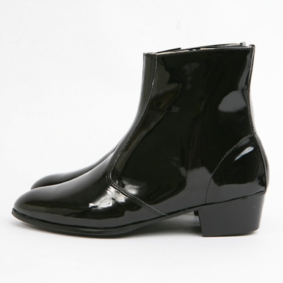 O men side zip leather boot men black leather boot 7cab