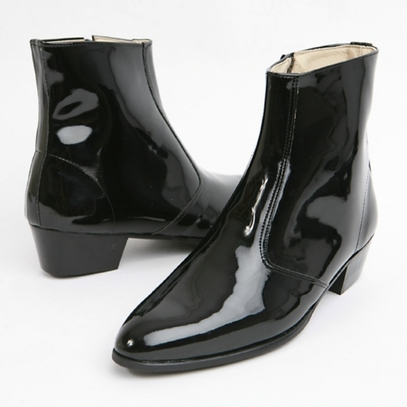 MEN SIDE ZIP LEATHER BOOT,MEN PATENT LEATHER BLACK BOOT