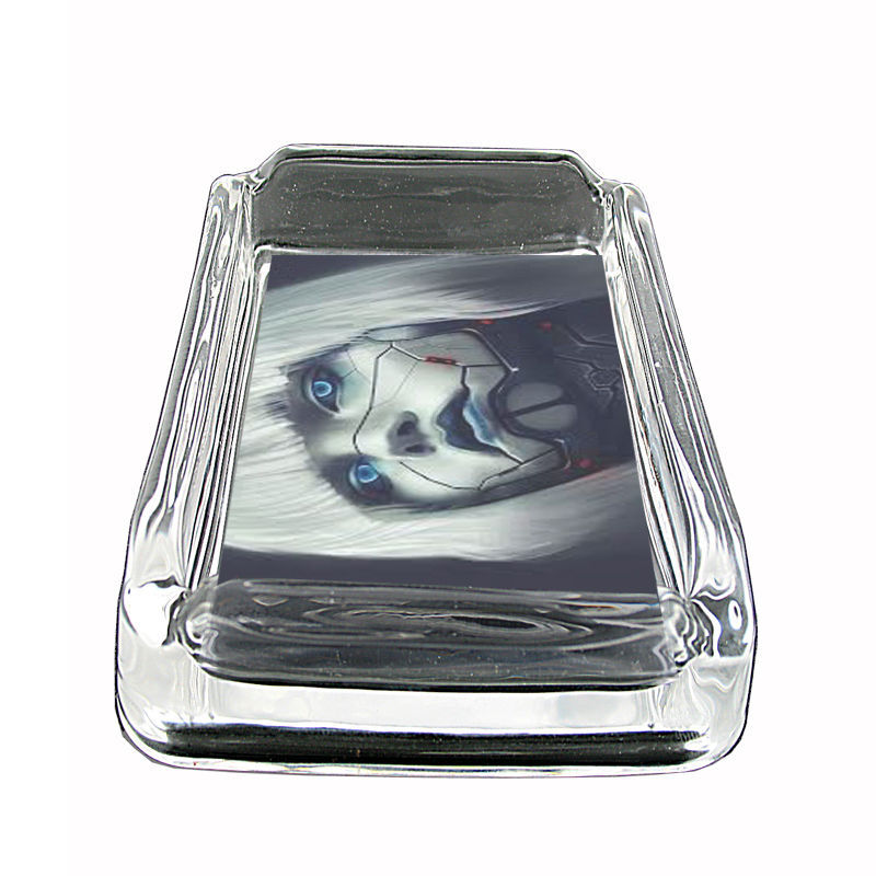 "Robot Glass Ashtray D5 4""x3"" Cyborg Artificial Life Science Fiction"