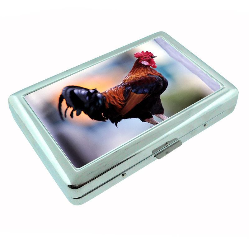 Rooster Metal Silver Cigarette Case D5 Chicken Gallos Flightless Bird Plummage