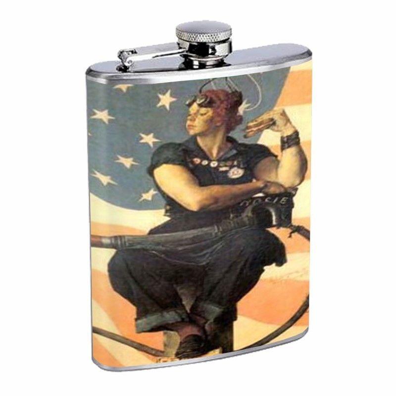 Rosie The Riveter Norman Rockwell Flask D171 8oz Stainless Stars & Stripes Flag