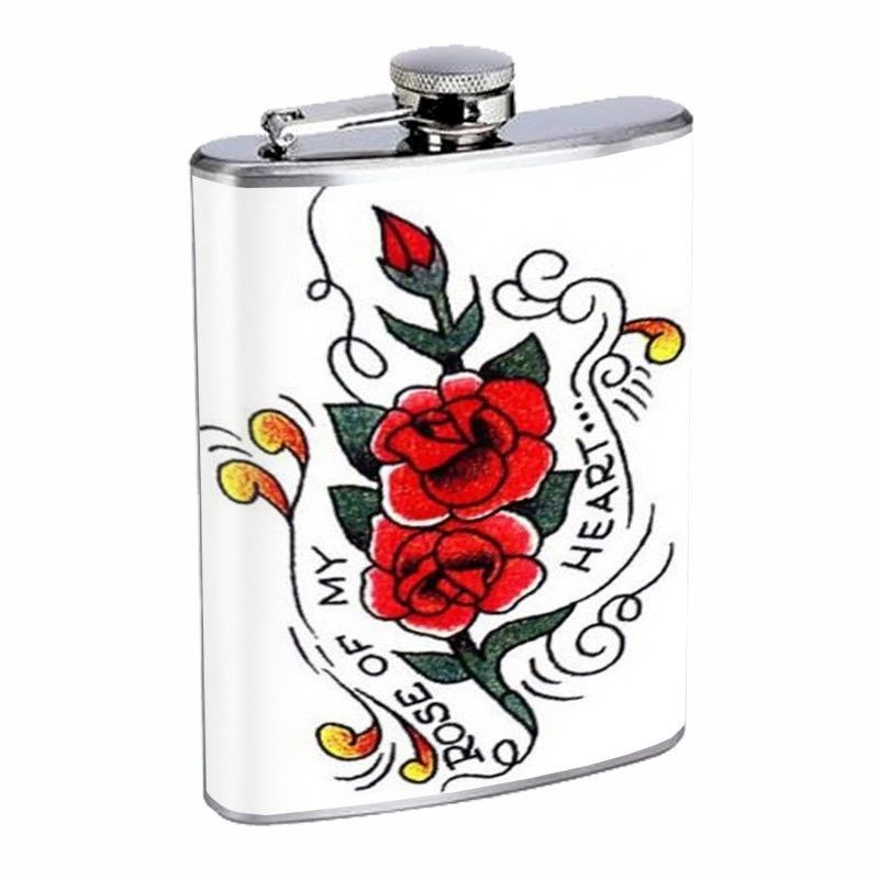 Rose of My Heart Tattoo Retro D340 Flask 8oz Stainless Steel Red Flowers Plant