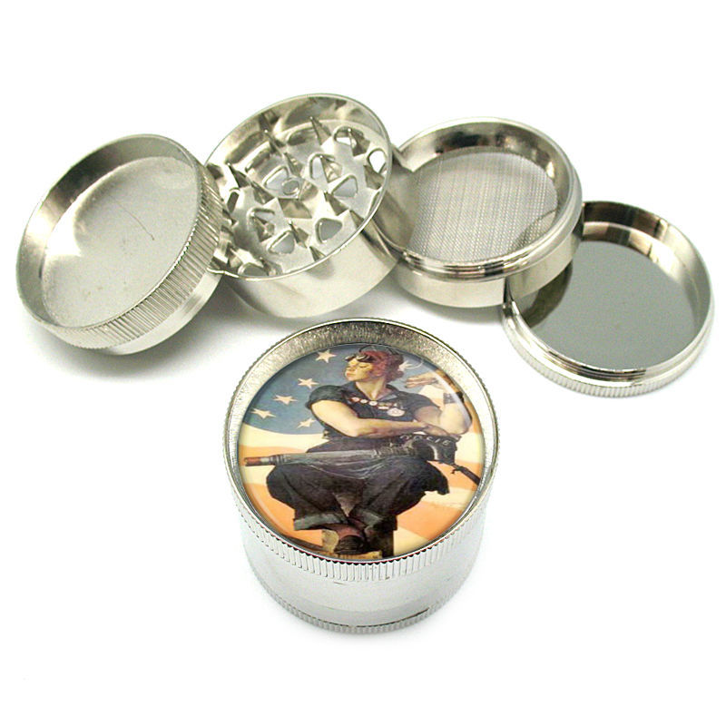 """Rosie The Riveter Norman Rockwell Metal Grinder 4 PC 2"""" D-171"""