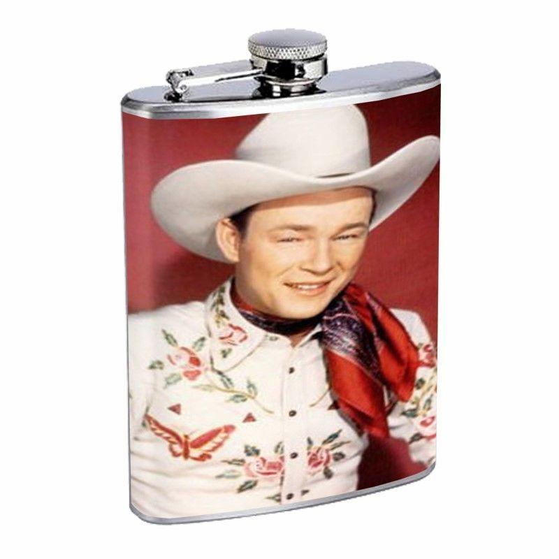 Roy Rogers Color Photo D468 Flask 8oz Stainless Steel White Hat Scarf Butterfly