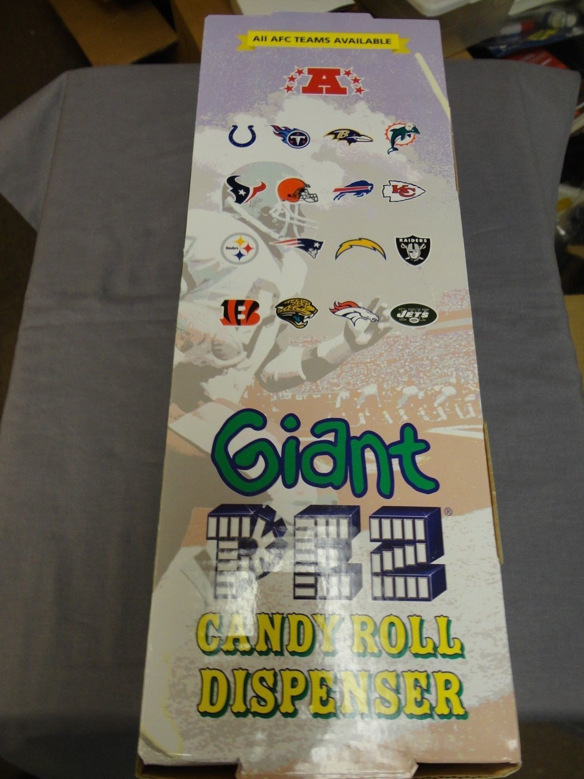 "SAN DIEGO CHARGERS GIANT PEZ 12"" HIGH PLAYS NFL SOUND EFFECTS 12 CANDY PACKS"