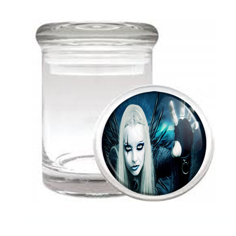 SEXY GOTHIC GIRL D6 ODORLESS AIR TIGHT MEDICAL GLASS JAR CONTAINER GOTH ROCK