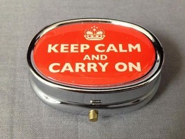 SILVER KEEP CALM AND CARRY ON DESIGN PRINT PILL BOX WITH NON FUNCTIONING... - $4.90
