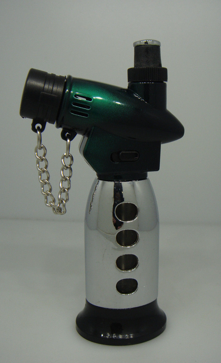 SINGLE TORCH LIGHTER JET FLAME / REGULAR FLAME GREEN AND SILVER 98-945