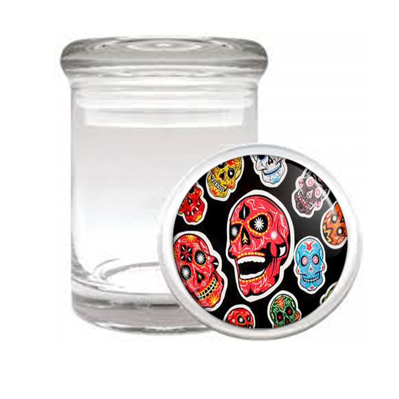 SUGAR SKULL D3 ODORLESS AIR TIGHT MEDICAL GLASS JAR CONTAINER DAY OF THE DEAD