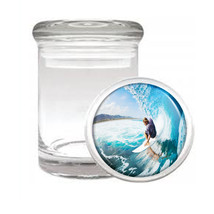 Surfing D2 Odorless Air Tight Medical Glass Jar Container  Hang Loose 10 Waves - $9.85