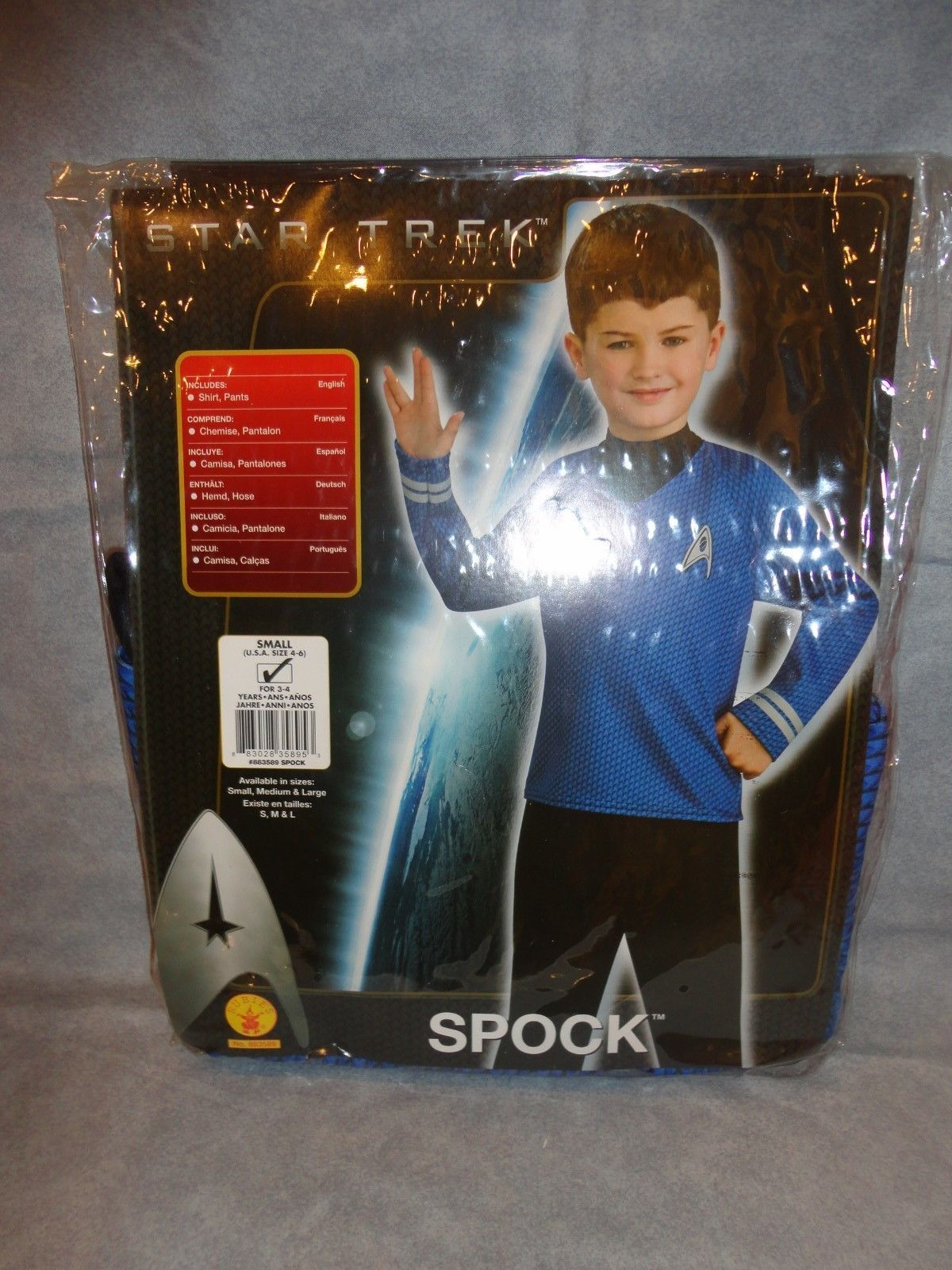 STAR TREK SPOCK COSTUME CHILD SIZE SMALL BY RUBIES SIZE 4-6