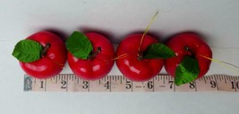 """Red Pear Apple 1.1/4"""" Tall Plastic Lot of 4 Red Apples - $6.88"""