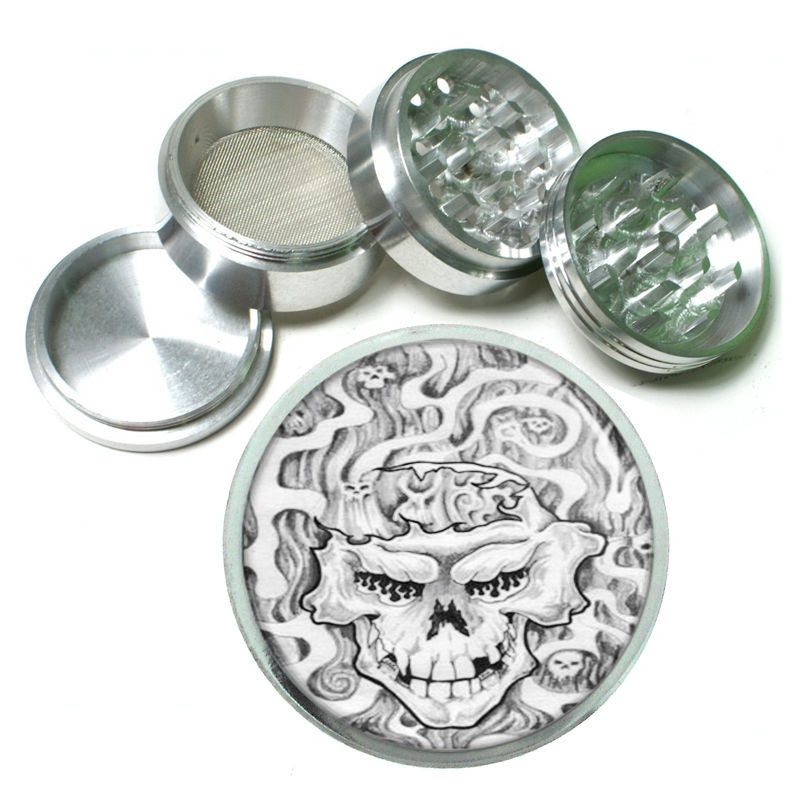 Scary Skull Tattoo Horror Metal Silver Aluminum Grinder D124 63mm Herb Spices