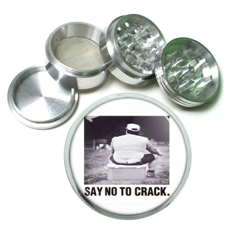 Say No To Crack Funny Gag Metal Silver Aluminum Grinder D56 63mm Herb Spices