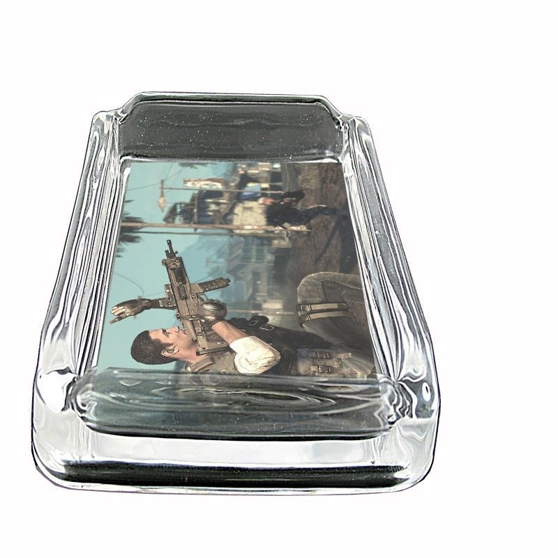 "Seal Team Glass Ashtray D8 4""x3"" Navy Military Secret Commandos Elite"