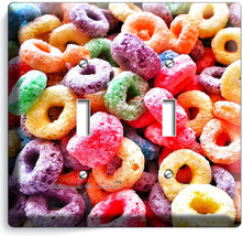 Froot Loops Ring Cereal Double Light Switch Wall Plate Cover Kitchen Dining Room - $11.99