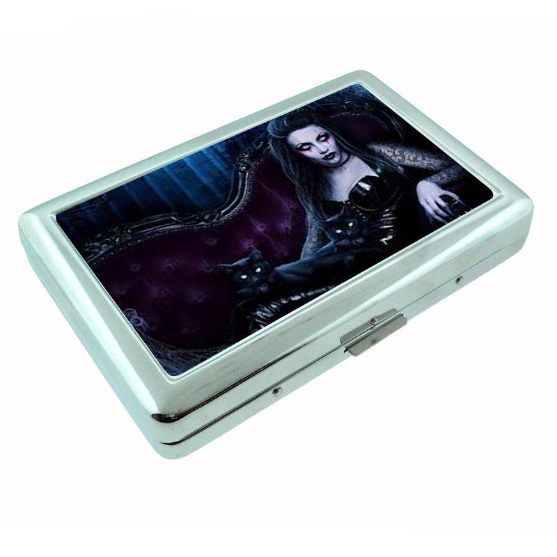 Sexy Gothic Girl D1 Silver Cigarette Case / Metal Wallet Dark Death Black Sad
