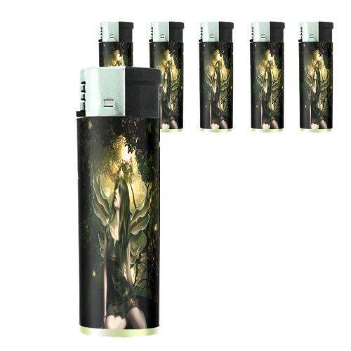 Set of 5 Butane Cigarette Lighters Fairies Design 01 Celtic Mystical Creature