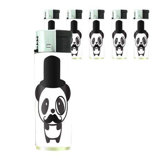 Set of 5 Cigarette Lighters 2nd Mustache D 02 Hipster Handlebar Facial Hair
