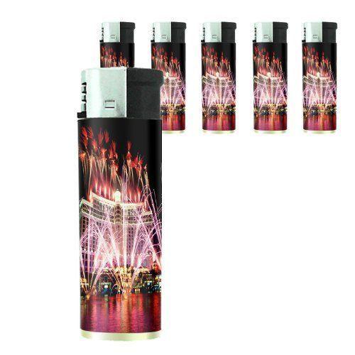 Set of 5 Cigarette Lighters Las Vegas Design 02 Vacation City Lights Casino
