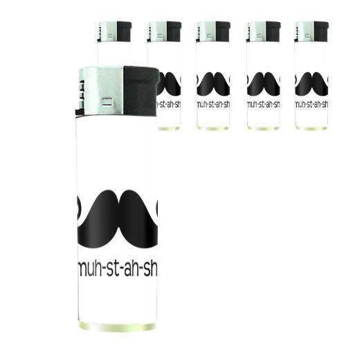 Set of 5 Cigarette Lighters 2nd Mustache D 08 Hipster Handlebar Facial Hair