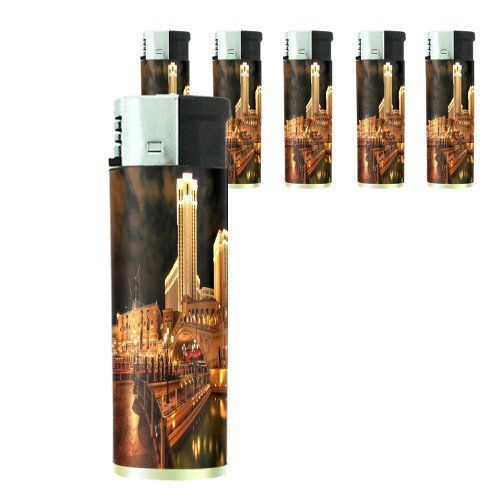 Set of 5 Cigarette Lighters Las Vegas Design 05 Vacation City Lights Casino