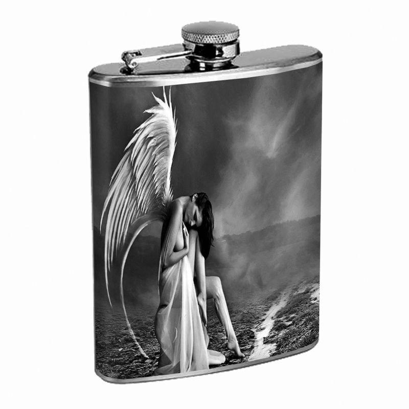 Sexy Gothic Girl D8 Flask 8oz Stainless Steel Goth Dark Medieval Death