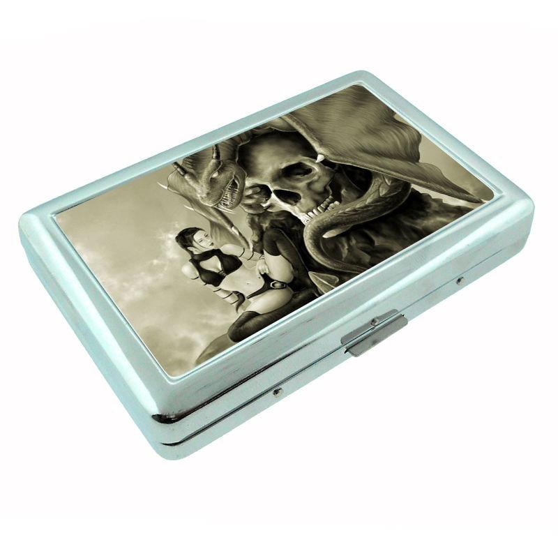Sexy Gothic Girl D9 Silver Cigarette Case / Metal Wallet Dark Death Black Sad