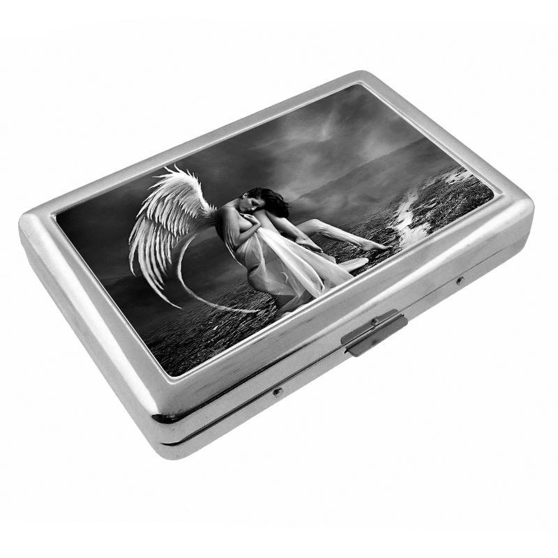 Sexy Gothic Girl D8 Silver Cigarette Case / Metal Wallet Dark Death Black Sad