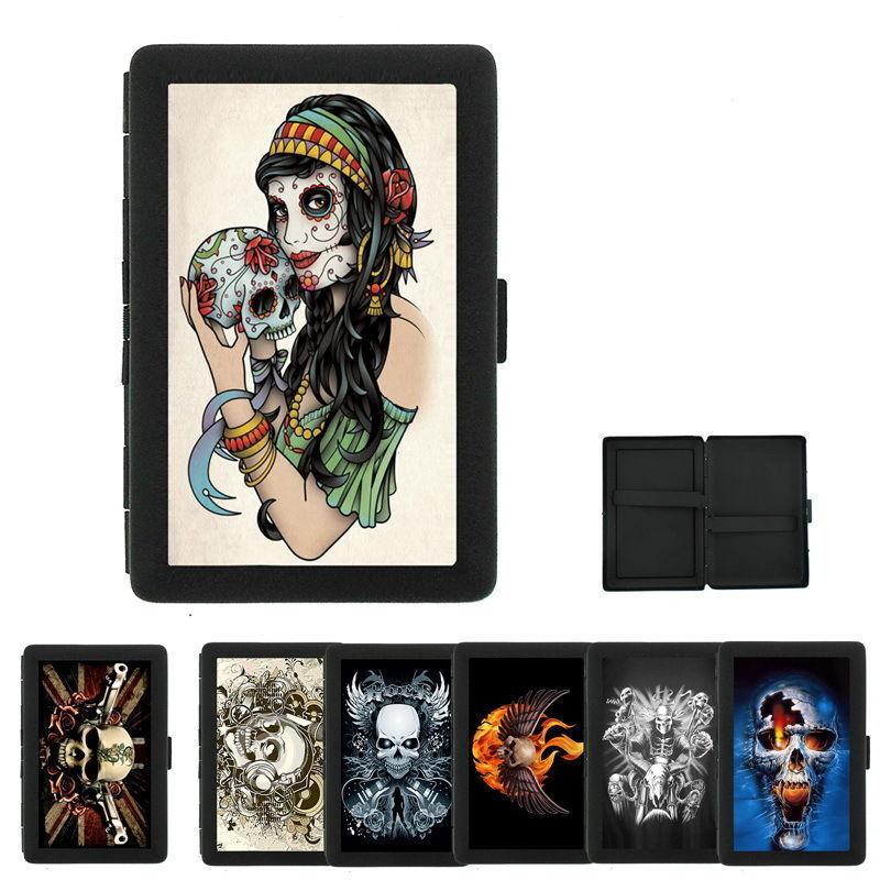 Sexy Gothic Girl D8 Black Cigarette Case / Metal Wallet Goth Rock Black Soul