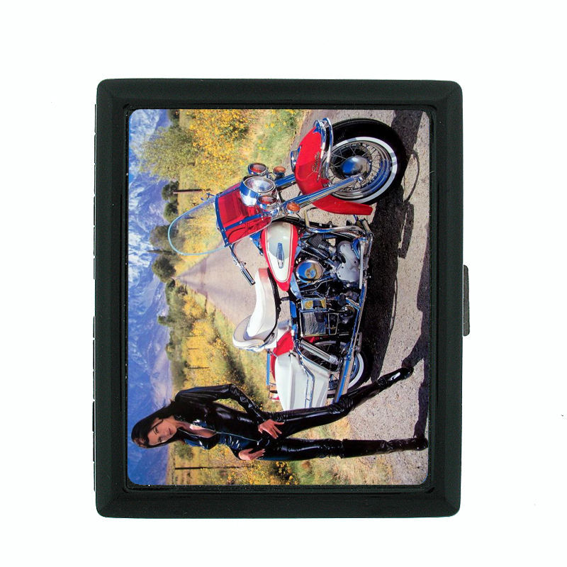 Sexy Motorcycle D10 Regular Black Cigarette Case / Metal Wallet Hot Bike Model