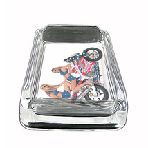 "Sexy Motorcycle Glass Ashtray D1 4""x3"" Speed Racing Bike - $9.85"