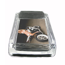 "Sexy Motorcycle Glass Ashtray D8 4""x3"" Speed Racing Bike - $9.85"