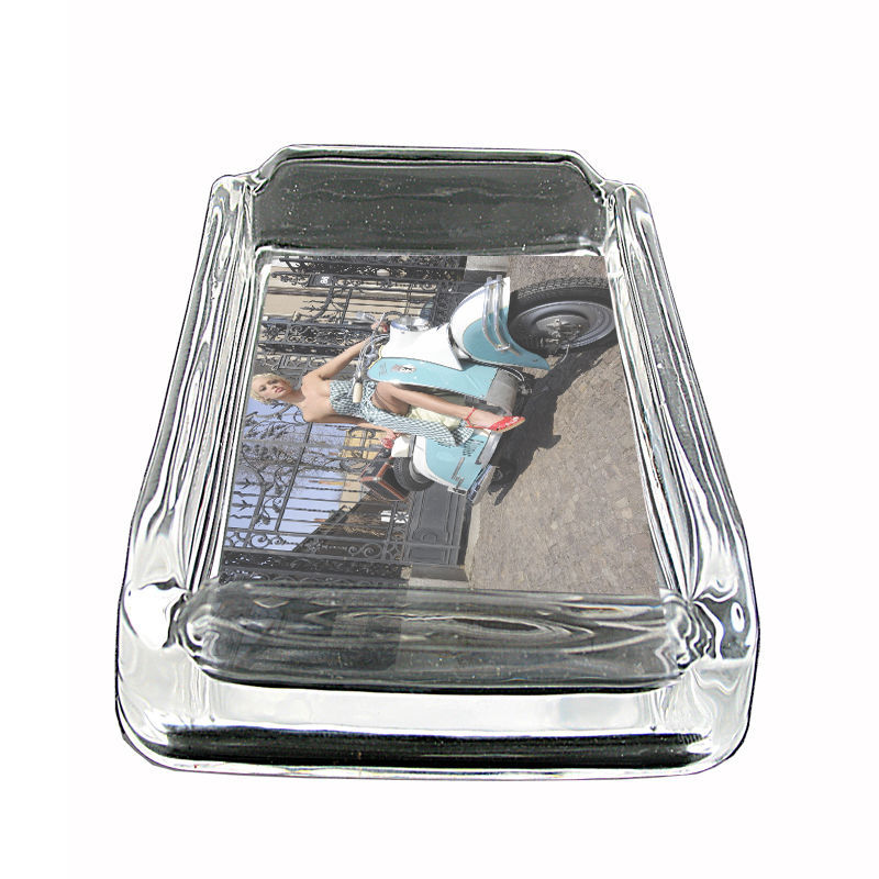 """Sexy Motorcycle Glass Ashtray D6 4""""x3"""" Speed Racing Bike - $9.85"""