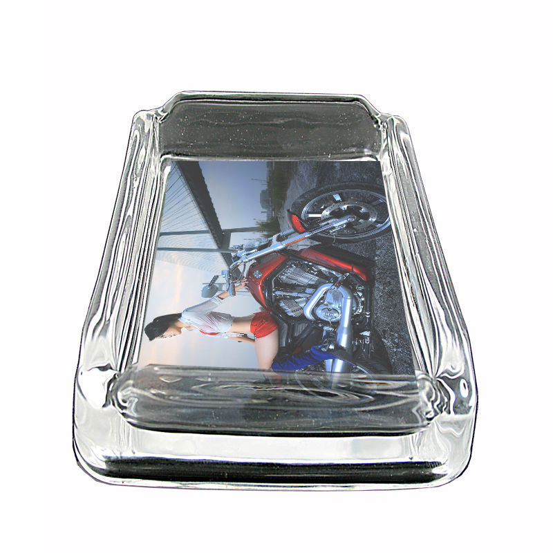 """Sexy Motorcycle Glass Ashtray D5 4""""x3"""" Speed Racing Bike"""