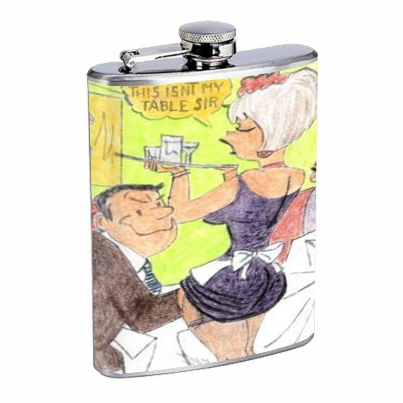 Sexy Rude Vintage Waitress Flask D197 8oz Stainless Retro Man Grabbing Woman