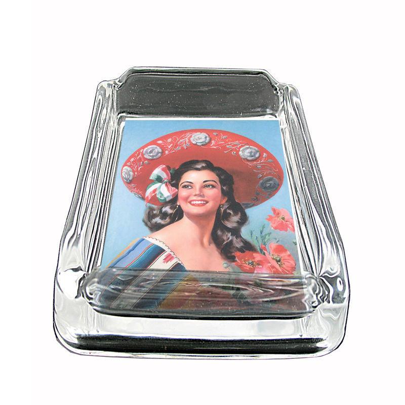 "Sexy Senorita Glass Ashtray D8 4""x3"" Classy Latina Pin Up Girl"