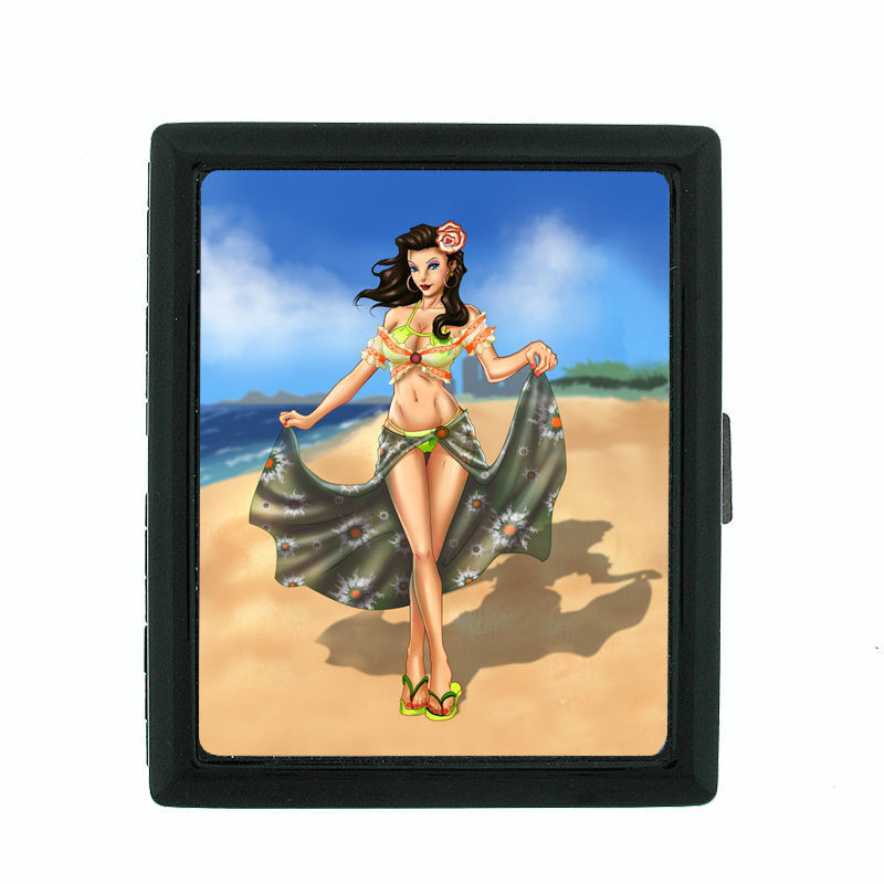 Sexy Senorita Pin Up Girl D3 Black Cigarette Case / Metal Wallet Classy Latina